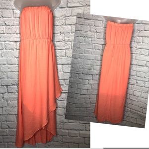 Strapless Coral Tulip-Front Maxi Dress